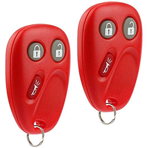 Key Fob Keyless Entry Remote fits Chevy Tahoe Suburban Silverado Avalanche Equinox SSR / GMC Sierra Yukon / Cadillac Escalade / Hummer H2 / Pontiac Torrent / Saturn Vue (LHJ011 Red), Set of 2 ()