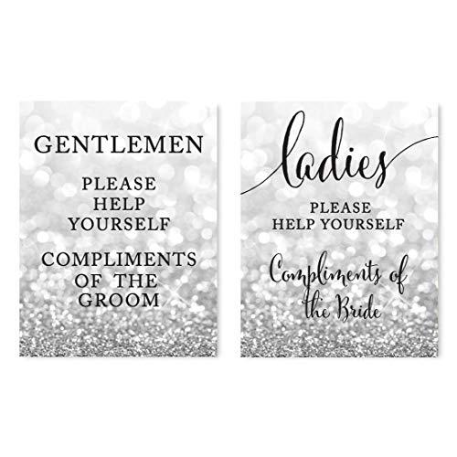Andaz Press Wedding Party Signs, Glitzy Silver