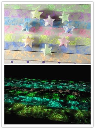 "Set ""bridge and disc "" letter Glow in Dark Lucky Star Origami Folding Plastic Strip Paper Heart Bowknot Design set18"