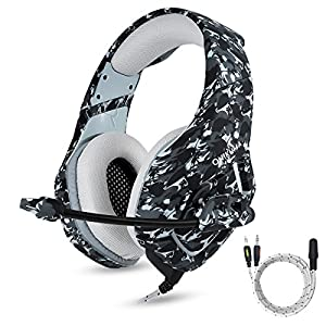 PS4 Gaming Headset with Mic for PC Mac Laptop New Xbox one Nintendo DS PSP Surround Stereo Sound Noise Reduction One Key Mute Gaming Volume Control Omnidirectional Microphone Gamer ( Camouflage )