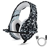 PS4 Gaming Headset with Mic for PC Mac Laptop New Xbox One Nintendo DS PSP Surround Stereo Sound Noise Reduction One Key Mute Gaming Volume Control Omnidirectional Microphone Gamer(Camouflage)