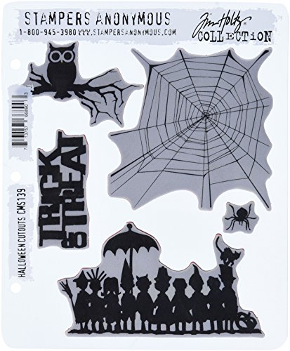 Stampers Anonymous Tim Holtz Cling Rubber Stamp Set, 7 by 8.5-Inch, Halloween Cutouts]()