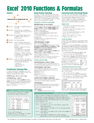 Microsoft Excel 2010 Functions & Formulas Quick Reference Guide (4-page Cheat Sheet focusing on examples and context for intermediate-to-advanced functions and formulas- Laminated Guide) - Beezix Inc.