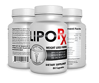 Lipo Rx- Diet Pills for Extreme Weight Reduction- Fat Burner and Thermogenic Weight Loss Supplement- Diet Pills That Burn Fat and Keep You Energized All Day- Fat Reducing Capsules to Help Curb Your Appetite so You Can Lose Weight Fast- 80 Count Bottle- Sa