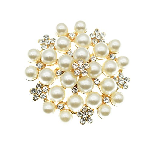 Elegant Pearl Floral Crystal Brooch Pin for Wedding Bridal(Gold)