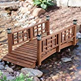Home Improvements Brown Finish Wood 72' Garden Bridge LED Lights Outdoor Yard Lawn Landscaping