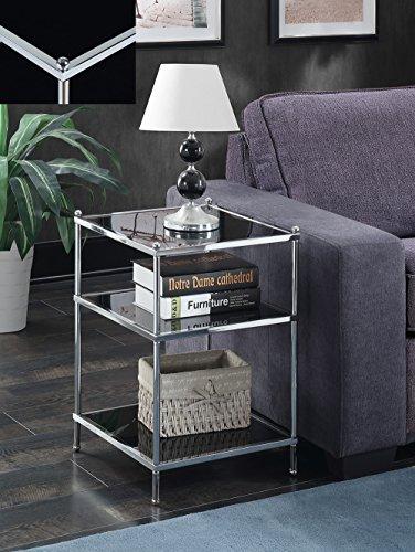 - Convenience Concepts  Royal Crest End Table, Chrome/Black Glass