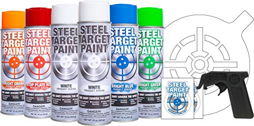 - Steel Target Paint Sampler- Includes 6 Multicolored Aerosol Cans, Can-Gun, Target Stencil, and Stickers for Shooting Ranges, Shooting Clubs, Parks and Private Ranges and for Match Competition