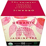 Natural Wonders USDA Organic Jasmine Individualy Wrapped Tea Bags, 100 Count
