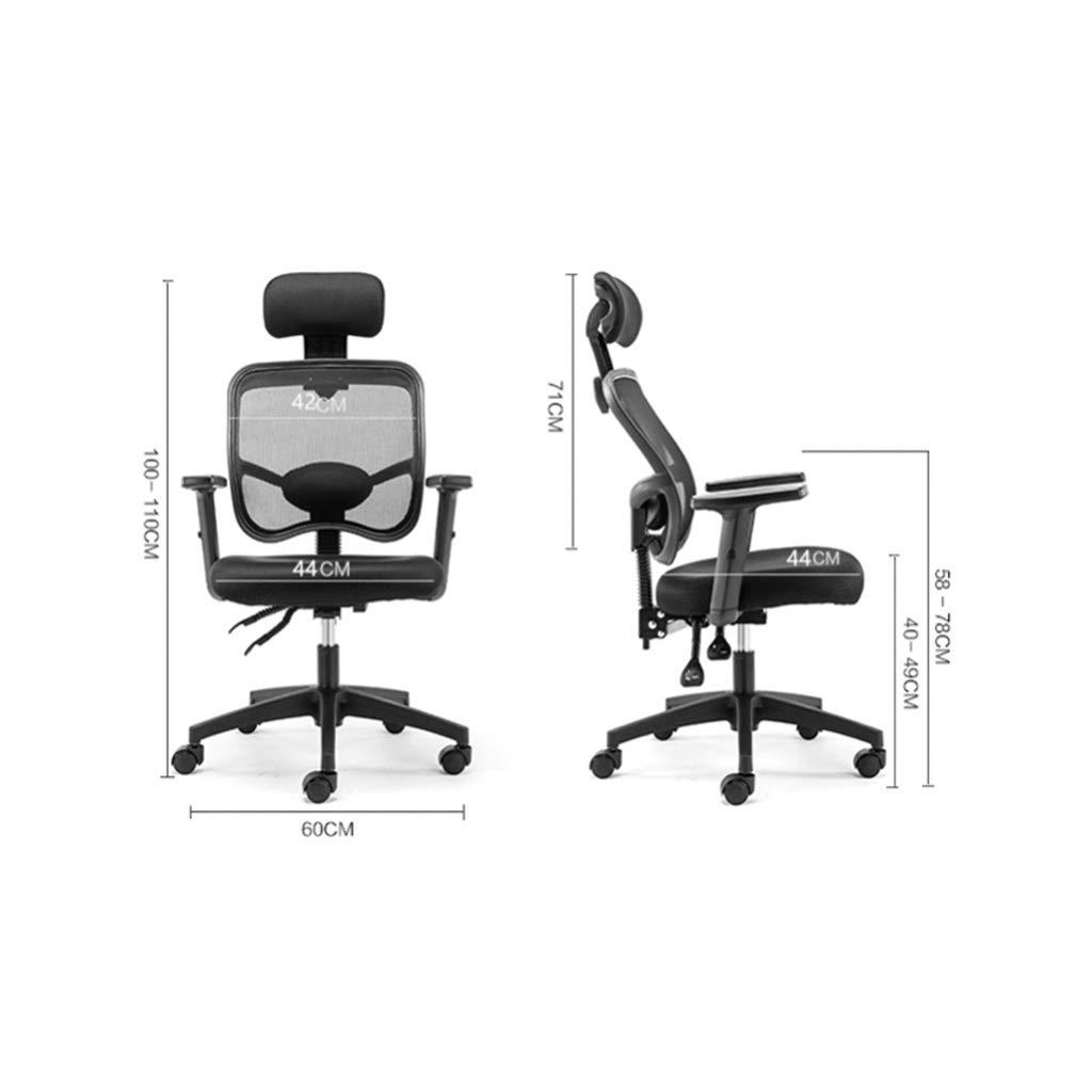 SSRS datorstol, svivelstol, liggande ergonomisk stol, nätstol, lyftande roterande kontorsstol (färg: Lila) Rosa