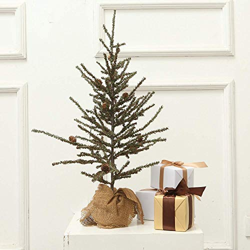 VGIA Small Home Decoration Tabletop 28'' Christmas Tree with Wood Stand, Green by VGIA (Image #4)