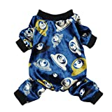 Fitwarm UFO Alien Pet Clothes for Dog Pajamas PJS Jumpsuit Soft Velvet Navy Blue Medium
