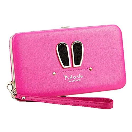 Wristlet Clutch Wallet for Women Flower Hard Wallet Case Long Leather Wallet for 6 inch Cellphone Large Evening Bag Handbag (Rabbit Ear Plum) ()