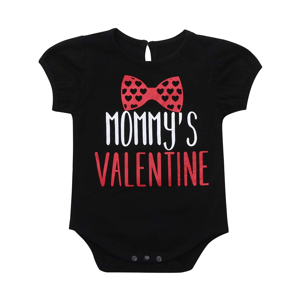 Lavany Toddler Baby Boys Clothes Short Sleeve Letter Hearts Print Valentine Romper Black