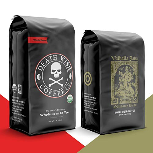 DEATH WISH Coffee – The World's Strongest Coffee [1 lb] and VALHALLA JAVA Odinforce Blend [12 oz] Whole Bean Coffee in a Bundle/Bulk/Gift Set | USDA Certified Organic | Arabica and Robusta Beans