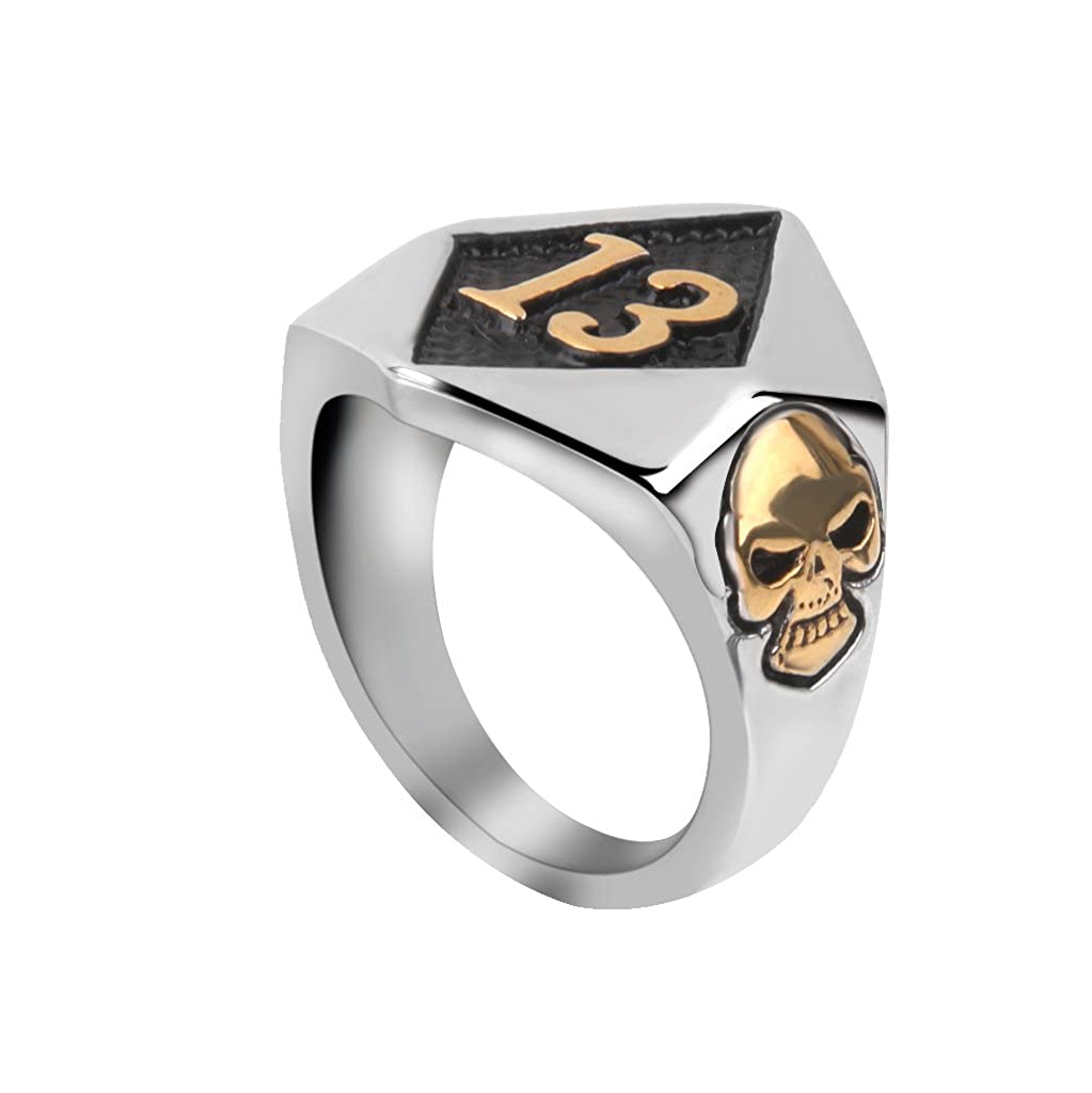 MagiDeal Punk Mens Lucky 13 Stainless Steel Motorcycle Skull Finger Ring Gold and Silver