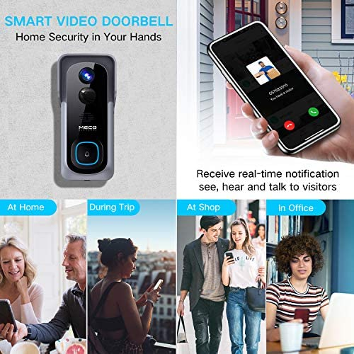 【32GB Preinstalled】WiFi Video Doorbell,MECO 1080P Doorbell Camera with Free Chime, Wireless Doorbell with Motion Detector, Night Vision, IP65 Waterproof, 166°Wide Angle, 2 Way Audio, 2.4GHz WiFi 519RgcmGz3L