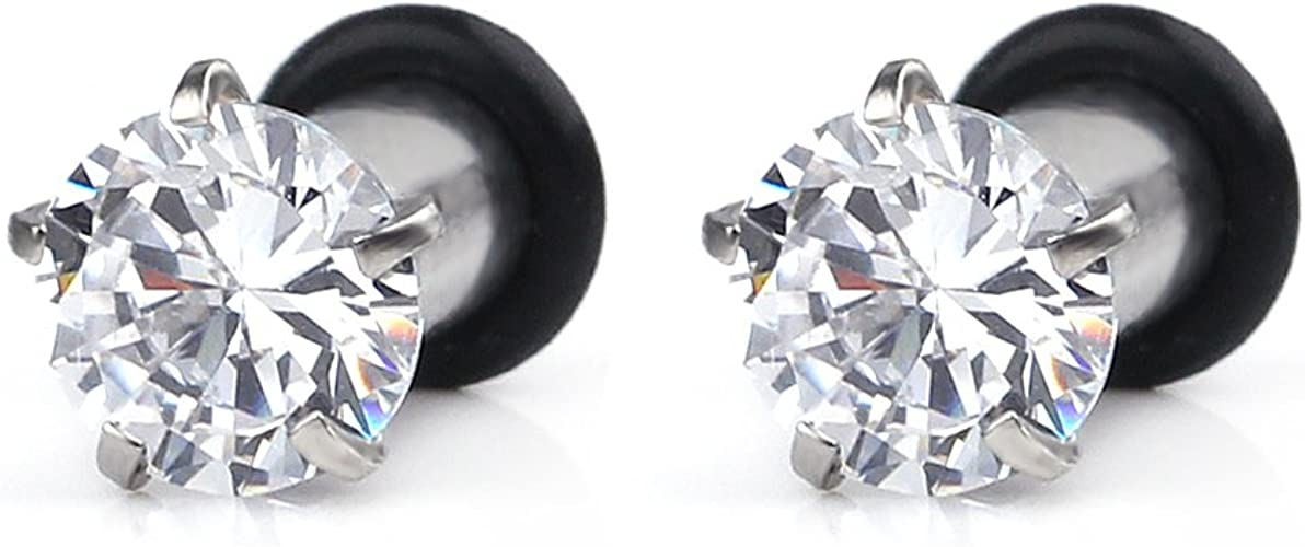 Black CZ Crystal ~ Stretched Piercing 3mm Surgical Steel Ear Tunnel Plug