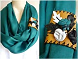 Emerald Green Pashmina Infinity Scarf/circle Scarf /Loop Scarf/tube Scarf with Leather Cuff(Handstitched)