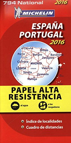 Carte National 794 : Espana / Spain / Espagne , Portugal – 2016 ; Indechirable ; tear-resistant (French Edition)