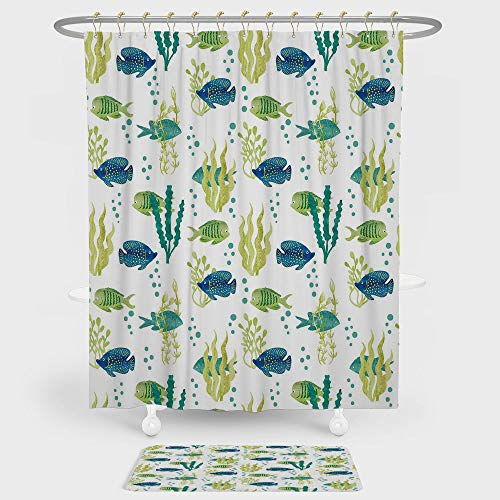 Aquarium Shower Curtain And Floor Mat Combination Set Different Tropical Fish and Seaweeds Exotic Marine Watercolor Artwork Decorative For decoration and daily use Avocado Green Teal (Marina Nickel Shower Curtain)