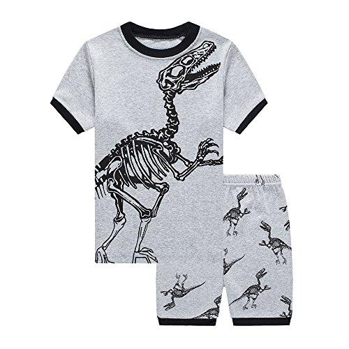 3 Piece Summer Short - Poptem Boys PJS Set Dinosaur Pajamas T-Rex ShortSleeve Sleepwear Shorts Set Cotton 2 Piece Toddler Kid Clothes 2-7 T