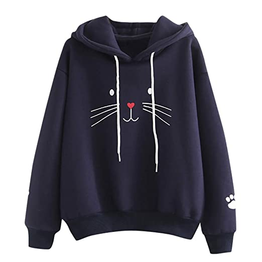 XOWRTE Hoodie for Women Long Sleeve Fall Cat Print Hooded Blouse Pullover Tops Casual Sweatshirt