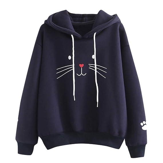 Sudaderas Tumblr Chica Gato Animal Patrón Casual Camiseta con Capucha y Manga Larga Tops Ropa Mujer Niña Otoño e Invierno: Amazon.es: Ropa y accesorios