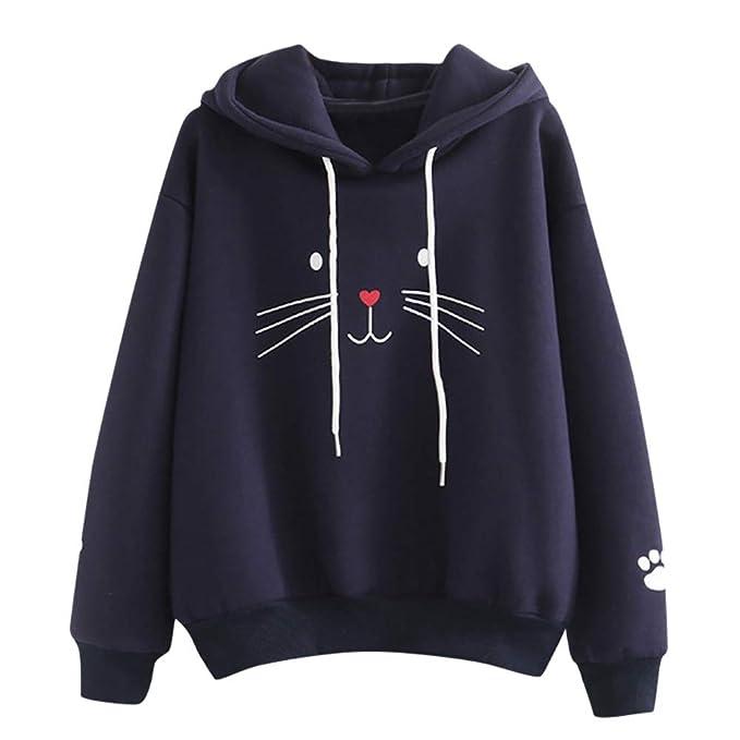 Sudaderas Tumblr Chica Gato Animal Patrón Casual Camiseta con ...