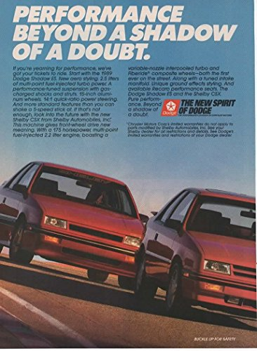 Magazine Print Ad: Red 1989 Dodge Shadow ES and Shelby CSX