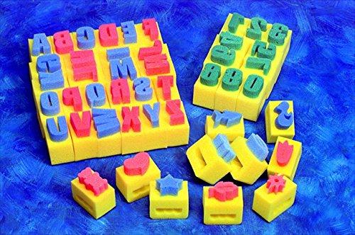 Creativity Street 085705 Alphabet Handle Sponge Set44; 2 x 3 x 3-1 & 2 In44; Yellow44; Set of 26