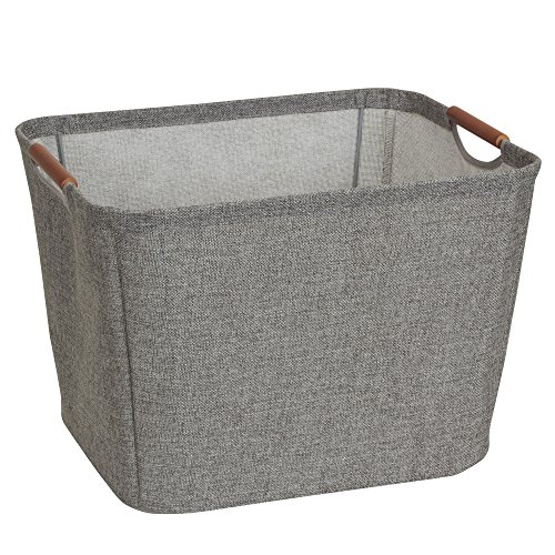 Tapered Storage Basket - Household Essentials 624 Medium Tapered Soft-Side Storage Bin with Wood Handles, Gray