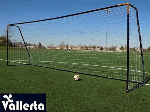 Vallerta Premier 24 X 8 FT. Regulation Size Soccer Goal w/Premium Weatherproof 4MM Net. Strongest 50MM Diameter Steel Frame w/Black/Gold Corrosion Resistant Coating. Newest 8x24 Foot Design(1Net) ()