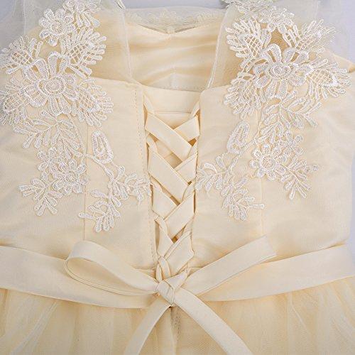 iShine Vestido Corto Verano para Mujer de Fiesta Floral con Arco Cintura de Novia Coctel Vestido Amarillo claro