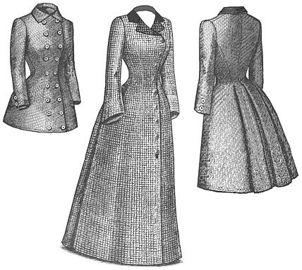 Victorian Sewing Patterns- Dress, Blouse, Hat, Coat, Mens 1880s Late Bustle Coat Pattern $25.15 AT vintagedancer.com