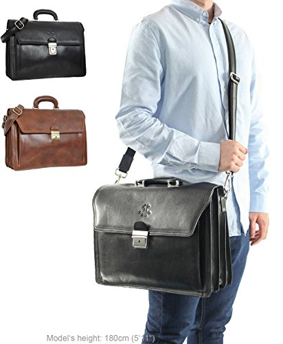 """Gusti Leder studio ''Clemens'' borsa ventiquattrore da ufficio elegante documenti portatile 15,4"""" unisex marrone marrone rosso 2B30-93-3"""