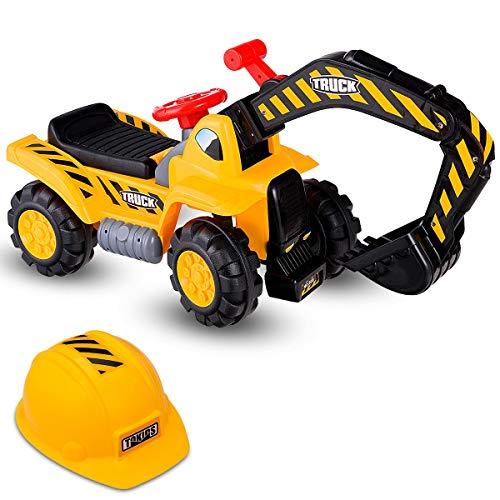 Costzon Kids Ride On Construction Excavator, Outdoor Digger