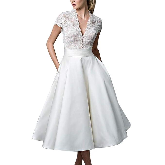 Vestido Elegante para Boda Mujer De Fiesta Mangas Cortas Vestidos De Novia