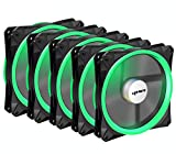 upHere Halo Ring Led 140mm case Fan 5 Pack Hydraulic Bearing Quiet Cooling case Fan for Computer Mirage Color LED Fan 3 pin with Anti Vibration Rubber PadsGreen/14CMG3-5