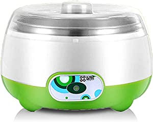 Yoghourt Machine, 1L Automatic Digital Yogurt Maker, Stainless Steel Liner Yogurt Maker Machine, Home DIY Yoghourt Container Yogurt Maker(Green)