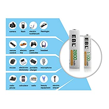Ebl 16 Pack Aa 2800mah Rechargeable Batteries With Battery Storage Case - Ul Certified 6