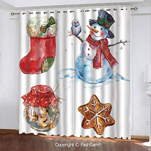 Thermal Insulated Blackout Curtains Watercolor Xmas Icons Snowman with Owl Sock Gingerbread Cookie Decorative Window Treatment Pair for Bedroom(84