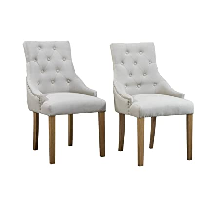 Huiseneu Pair Dining Room Wood Armchairs Upholstered Fabric High