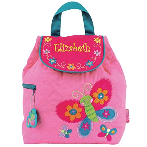 Personalized Pink Embroidered Butterfly Quilted Backpack (Girls Quilted Backpack)