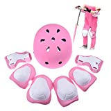 Kid'S Skateboard Helmet Set Roller Skating Bmx Scooter Cycling Knee And Elbow Pads Safety Pad Safeguard Gear Wrist Guards Multi Sports Bicycle Rollerblades Protective Tool Birthday Christmas Gift Guard 7pcs For Kids Children Multi-Sports Skate (Pink)