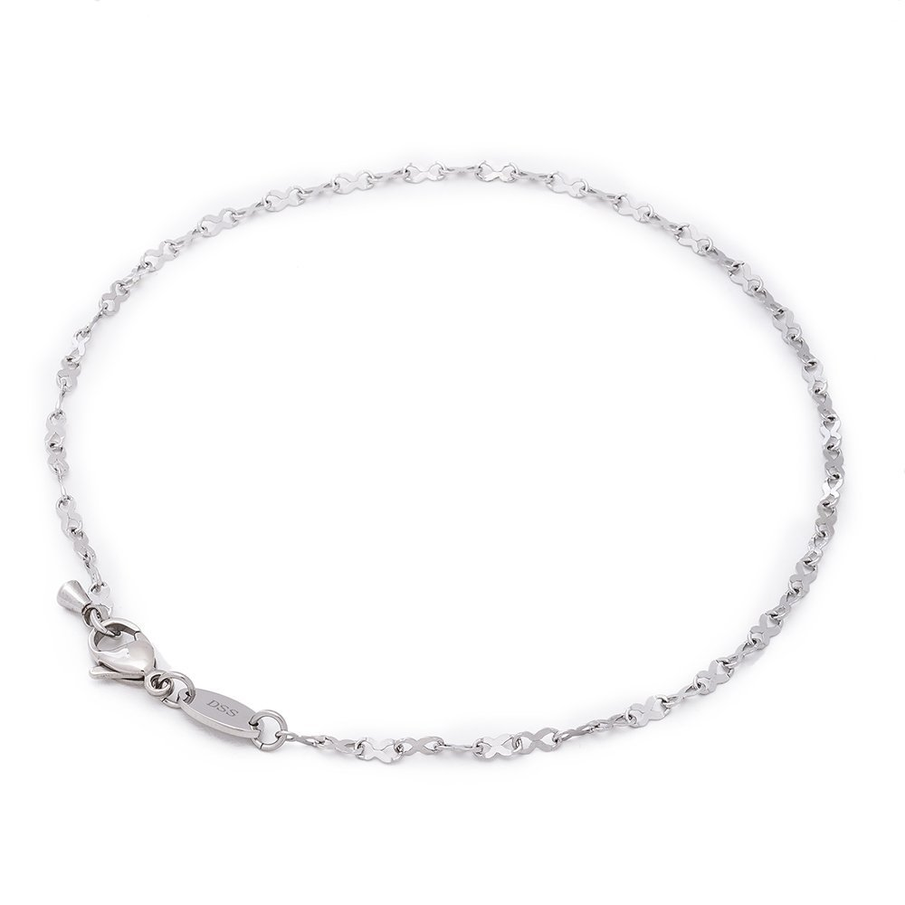 316L Stainless Steel Infinity Ribbon Link Chain - 2MM - Anklet for Women & Girls 11 Inch