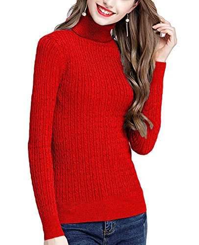 MFrannie Womens Twist Ribbed Cable Stretchy Fit Knit Turtleneck Sweater Red M (Petite Turtleneck Ribbed Sweater)