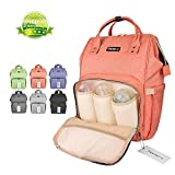 Wide Open Designer Baby Diaper Backpack By Tincon-z –Multi-Function Waterproof Tote Bag Stroller Straps, Travel Bag, Changing Pad & Insulated Pocket For Mom & Dad (Orange-pink)