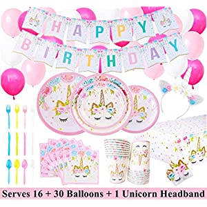 Unicorn Party Supplies Set with BONUS Glittery Unicorn Headband and 30 Balloons | 145 Piece Disposable Unicorn Themed…