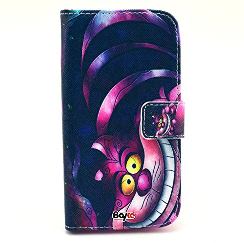 Bayke Brand / Samsung Galaxy S3 Mini SmartPhone Case Pu Leather Wallet with Credit Card Slots for Samsung Galaxy S3 Mini (MINI ONLY) I8190 (The Cheshire Cat Pattern)